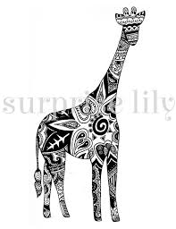 Small Picture Giraffe Floral Coloring Page Book Digital Printable for Adults and