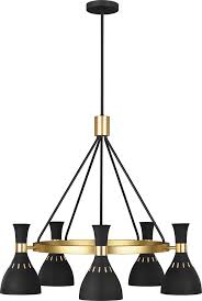 ed ellen degeneres ec1015mbk joan modern midnight black burnished brass chandelier light edg ec1015mbk