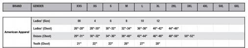 American Apparel Size Chart Size Chart American Apparel