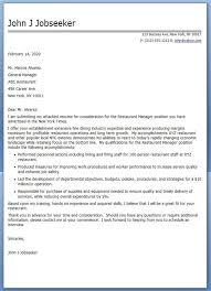 Cover Letter Restaurant Example Restaurant Manager Cover Letter For Resume Creative Resume Design