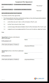 Equipment Rental Hire Agreement Template