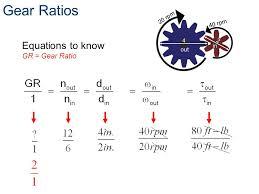 7 gear ratios equations