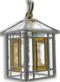 poole amber leaded glass hanging lantern 69p amb jpg