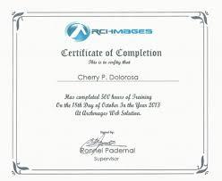 Ojt Certificate Of Completion Sample Format Great Sample