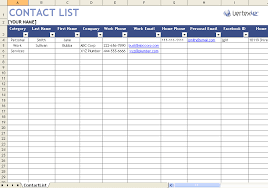 Phone Contact List Template