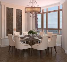 fascinating drum shade chandelier above fresh centerpiece on square dining table on calm floortile large