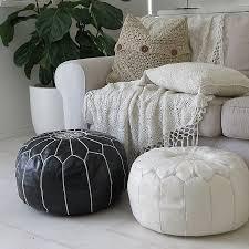 moroccan leather pouffe – black – maison  maison