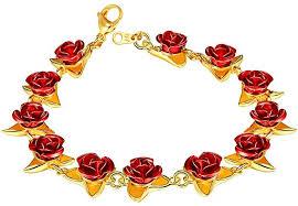 U7 Women Girls Cute 18K Gold Plated Red Rose ... - Amazon.com