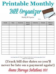 Online Bills Organizer Printable Monthly Bill Organizer To Make Sure You Pay Bills On Time