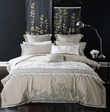 100 cotton queen king size embroidery grey blue bedding set korean luxury royal bed set duvet cover bed sheet pillowcases duvet covers duvet sets on