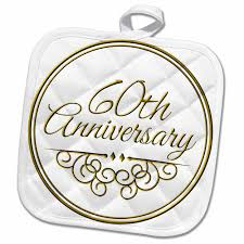 3drose 60th anniversary gift gold text for celebrating wedding anniversaries 60 years married together pot holder 8 by 8 inch walmart