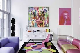 Rashid's living room includes paintings by him and others. He also designed  the chair, both sofas, and the white console. Photo by Dean Kaufman/New  York ...