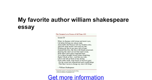 my favorite author william shakespeare essay google docs