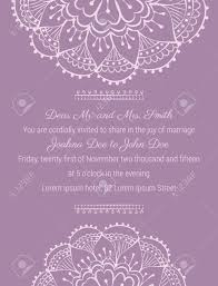 Wedding Invitation Template On Tender Violet Background With