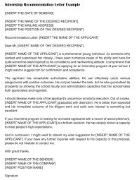 Letter Of Recommendation For Internship 15 Sample Recommendation Letters For Internship And