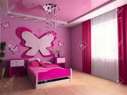 Pink Childrens Bedroom Pink Childrens Room With A Bed 3d Image Stock Photo Picture And