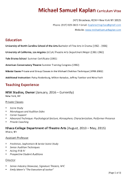 Michael Samuel Kaplan Teaching Resume