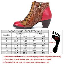 Socofy Size Chart Socofy Ankle Booties Bohemian Splicing Flower Pattern Lace Up Zipper Block Heel Leather Outdoor Boots