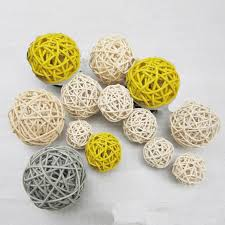 Decorative Vase Filler Balls 100PCS Mixed Gray Yellow White Decorative Wicker Rattan Ball Vase 88