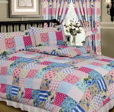 blue pink colour multi patchwork design reversible bedding duvet quilt cover set