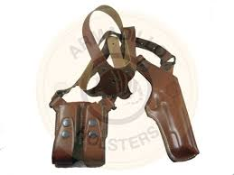 left hand armadillo tan leather vertical shoulder holster for glock models p1v