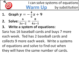 1 warm up i can solve systems of equations by substitution