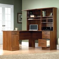 sauder palladia computer desk harbor view l shaped desk with hutch by computer in select cherry