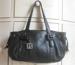 details about giani bernini black leather shoulder bag handbag