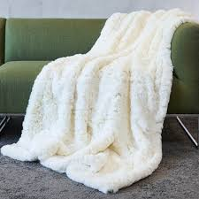 white faux fur throw. Unique Faux AWASSI OFFWHITE Faux Fur Throw With White I