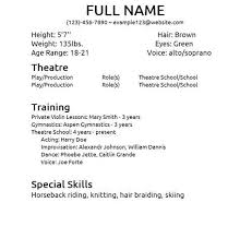 Theatre Resume Templates Letter Resume Directory