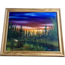 r pierce moose at sunset oil painting on canvas board signed by artist