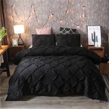 details about luxury duvet cover set solid color pinch pleat 2 3pcs queen king bedding set