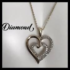 details about jwbr kay jewelers sterling silver diamonds double heart pendant necklace