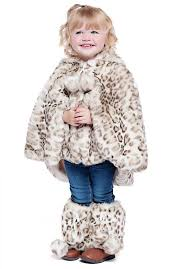 girls leopard faux fur hooded poncho