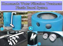 Homemade Water Filtration Treatment Plastic Barrel System The