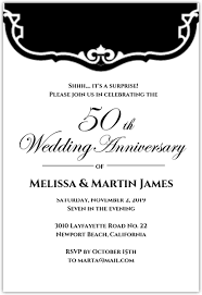 50th Anniversary Party Invitations Black And White Vintage 50th Anniversary Party Invitation