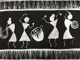 Warli Painting On Black Chart Paper Art_4320_33886 Handpainted Art Painting 20in X 18in