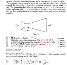 air flows through a convergent divergent nozzle is