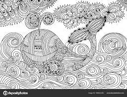Balena Di Doodle Balena Di Vettore Disegnato A Mano Pagina A