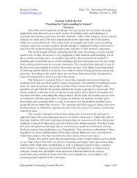 Apa Format Journal Article Review Sample Article Reviewwriting
