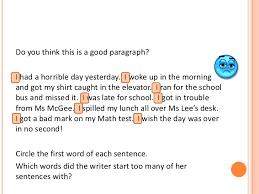 transitional sentences sentence fluency transition words