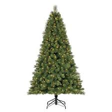 Christmas Tree With Changing Lights Home Heritage 9 Ft Artificial Cascade Pine Christmas Tree With Color Changing Lights