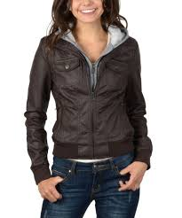 Ci Sono By Cavalini Brown Hooded Faux Leather Jacket