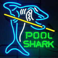 Shark Bedroom Decor Pool Shark With Cue Stick Neon Rec Room Sign Game Room Decor