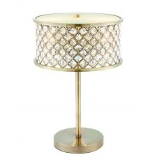 hudson 2 light table lamp antique brass clear crystal with frosted glass diffuser