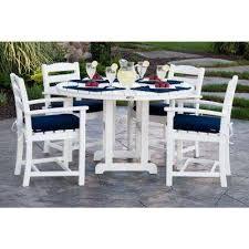 la casa cafa white 5 piece plastic outdoor patio dining set with sunbrella navy cushion