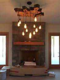 living edge lighting. custom to order extra large live edge slab light fixture with hanging edison bulbs twisted fabric wire chandelier details in description living lighting l