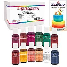 12 Food Color Secondary Us Cake Supply By Chefmaster Liqua Gel Paste Cake Food Coloring Set Kit 2 12 Colors In 0 75 Fl Oz 20ml Bottles