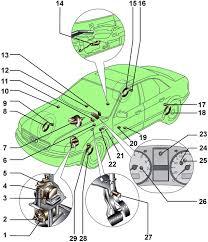 audi a Электронная система стабилизации курсовой устойчивости  Расположение на автомобиле элементов антиблокировочной системы тормозов и электронной системы стабилизации abs esp