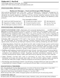 Restaurant Manager Resume Food Beverage Manager Recentresumes Com